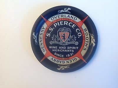 Old S.S. PIERCE CO. Wine & Spirit Merchants Since 1831 Spinning Tip Tray