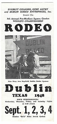 Dublin Texas 9th Annual Rodeo Flyer 1948 Cowgirl Mary Ann Mayfield and horse