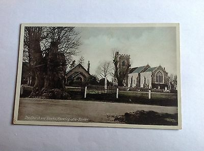 """Vintage Postcard.  """"The Church and Stocks, Havering-atte-Bower"""". Essex"""