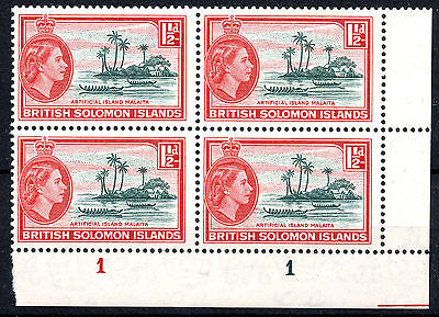 British Solomon Islands 1956-63 QEII SG84a Slate-Green and Brown-Red - MNH Blk 4