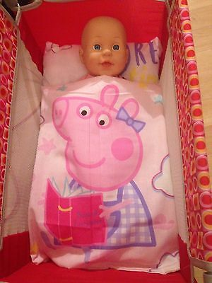 Peppa Pig Dolls cot Blanket/quilt and pillow set