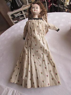 Antique  doll  1820 / 1840   wax over composition or papier - mache   glass eyes