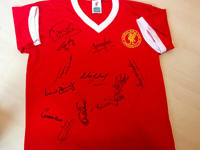 Liverpool hand signed 1977 shirt COA Keegan Kennedy x12
