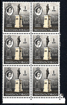Trinidad and Tobago 1960-67 QEII SG284 1c. Stone and Black MNH Blk of 6 stamps