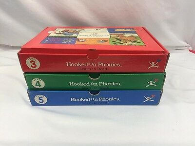HOOKED ON PHONICS Learn To Read LEVEL 3 4 5 Red Blue Green BOX Sets Free Ship