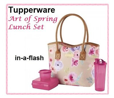 Tupperware ART OF SPRING LUNCH SET w/ Tote, Sandwich Keeper, Snack Cup, Tumbler