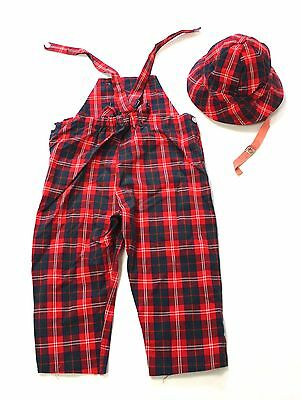 Original Vintage Boy's Plaid Overalls and Matching Hat