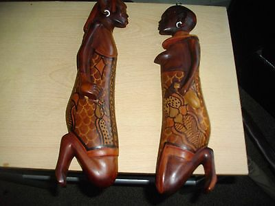 2 X African Carved Figure Wall Plaques