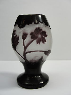 Antique French Cameo Footed Vase C 1900-1914 Muller Freres Croismare Rare Htf