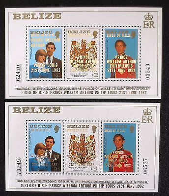 Belize - 1982 Prince William - SG MS720 with Large & Small Letter O/Prints - MNH