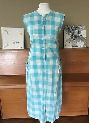Vintage Dress 1950s Turquoise Blue White Cotton Check Shirt Dress  18 20
