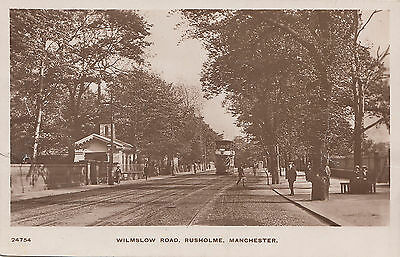 Unused postcard ~ Wilmslow Road Rusholme Manchester showing tram