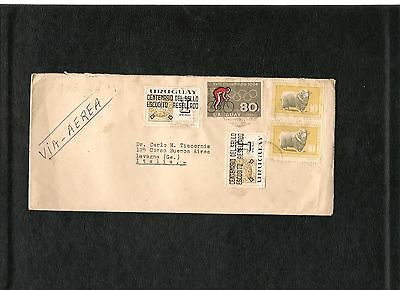 URUGUAY to Lavagna (Genova) Italy Cover Busta air mail 1967 stamp Olympics 1964