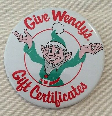 Vintage 1980's WENDY'S Christmas Fast Food ADVERTISING Pinback Button Pin