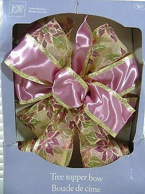 "10"" Pink Gold Wired-Edged Bow Ornament Christmas Tree Topper Decor CAMEO ROMANCE"