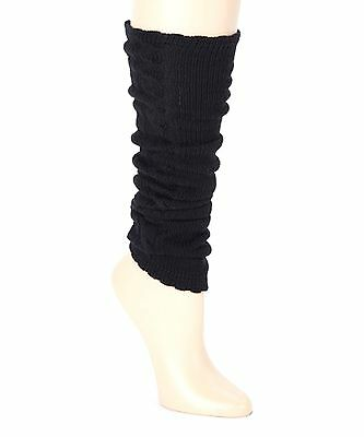 Betsey Johnson Classic Black Cable Knit Leg Arm Warmers OS Skating Dancing New