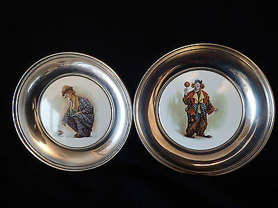 2 White Metal Plates Ceramic Plaques With Clowns