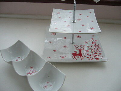 2 tier Christmas style cake stand and 3 compartment  dips tray