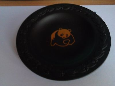 Small Black Wedgewood Plate With Gold Panda Image