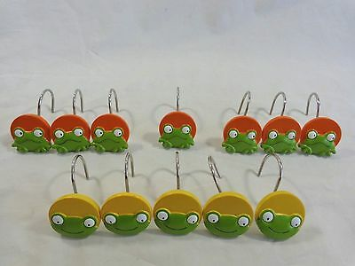 Shower Curtain Hooks Set of 12 FROGS Orange and Yellow Circles 2 Designs Resin