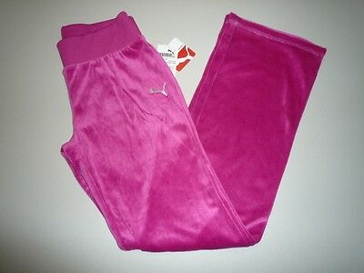 NWT Puma Girl Pink with Silver Logo Velour Pants, Large