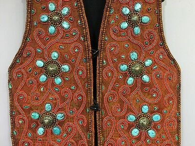Tibetan Ceremonial Wool Silver Turquoise Coral Beaded Vest