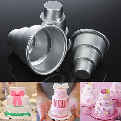 3D Mini 3-Tier Cake Tins Pudding Pan Baking Muffin Bakeware Molds HOT -6A