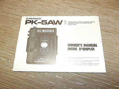 Pioneer PK-5Aw Cassette Deck Player owners Instructions Manual