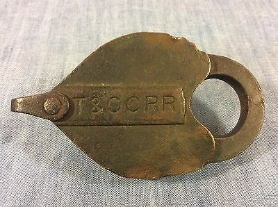 Toledo & Ohio Central RR Brass Heart Shaped Car Lock