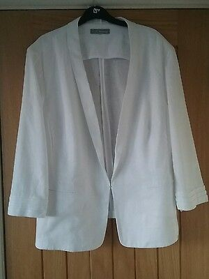 White linen mix jacket. Marks and Spencer . Size 22. Long sleeve. Exc condition