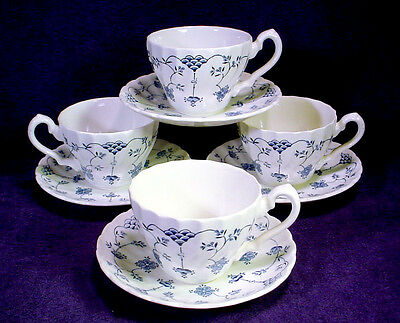 4 MYOTT China FINLANDIA Tea CUP SAUCER SETS Blue Swirl LOT Staffordshire ENGLAND