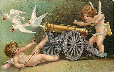 Clapsaddle Valentine~Cupids Fire White Doves From Violets Flower Cannon~Emb~1906