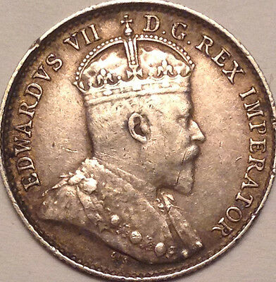 1907 Canada Silver 5 Cents In Great Condition !