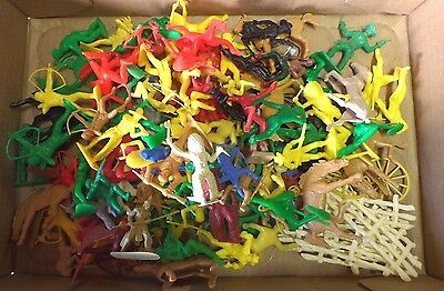 Vintage Huge Lot of Plastic Cowboys & Indians w/Horses Mostly Tim-Mee 65MM