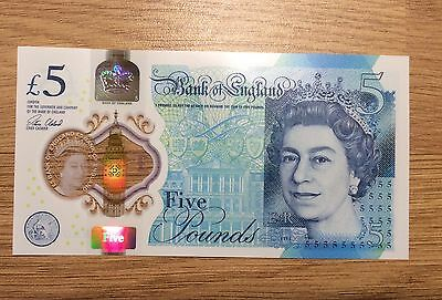 Bank of England Polymer £5 Five Pound Note ERROR Row of Fives Alignment Error
