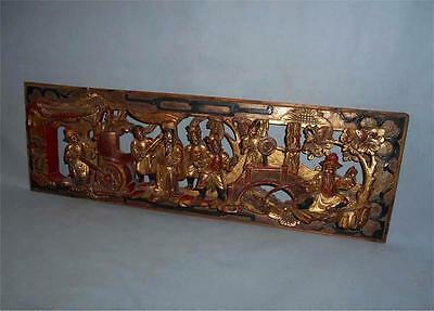 Antique China TOP HIGH AGED GILT LACQUERED WOOD FIGURAL FURNITURE PANEL