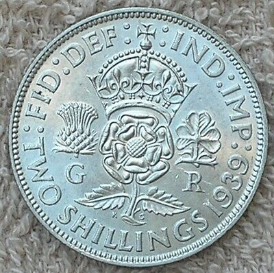1939 King George V1 British Silver Two Shilling Coin