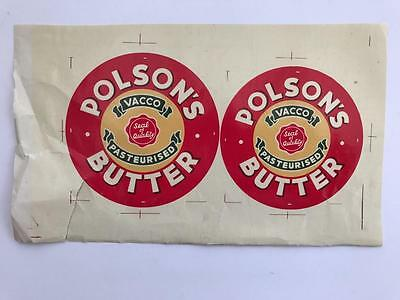 2 1940s Proof Package Advertising Labels Polsons Butter