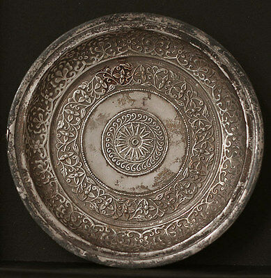 SUPERB antique 19th century INDIA Kutch chased silver dish/plate