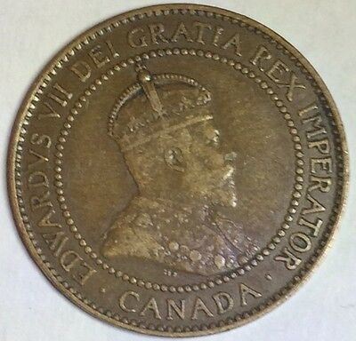 1910 Scarce King Edwards VII One Canada Cent ���� One Bronze Cent Grade VF