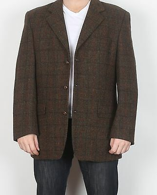 "Harris Tweed Chest 44"" Large XL Tailored Jacket Blazer (K3G) Brown"