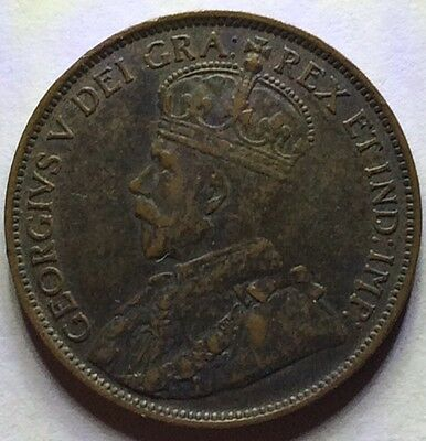 1913 Scarce King George V One Canada Cent ���� One Bronze Cent Grade
