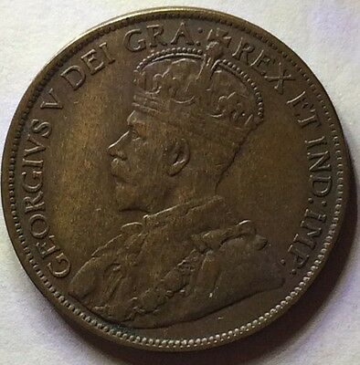 1914 Scarce King George V One Canada Cent ���� One Bronze Cent Grade