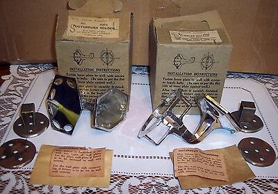 2 Vtg Wall Mount Chrome Art Deco Toothbrush And Cup Tumbler  Holder New In Boxes