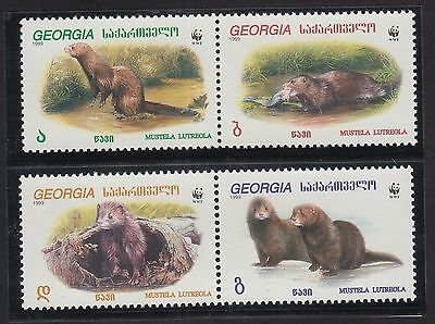 Georgia MNH Stamps set 1999 - Mustella Lutra WWF Protected animals.........TW362