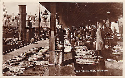 Rp Postcard - The Fish Market Aberdeen - Posted 1939