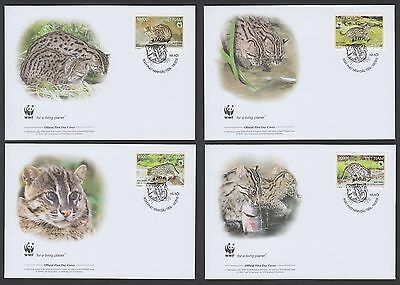 Viet Nam 2010 Wild Fishing Cat - Set of 4 Official WWF First Day Covers....TW377