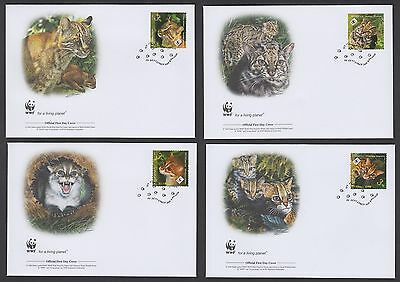 Thailand 2011 Wild Cat - Set of 4 Official WWF First Day Covers............TW380