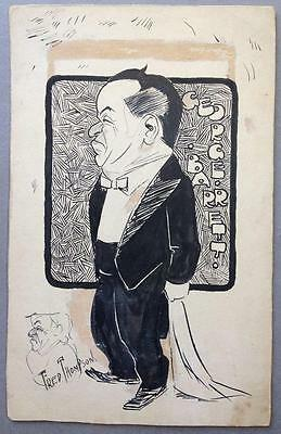 George Barrett, Stage Actor, Cartoon, by the librettist Fred Thompson, c1910