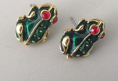Lovely Vintage Frog Earrings In Enamel On Gold Tone Metal With Crystals